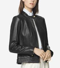 Cole Haan Jacket Size Chart Womens Smooth Lambskin Leather Jacket In Black Cole Haan Us