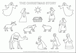 Excellent Christmas Nativity Story Coloring Page With Nativity Scene