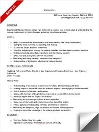 makeup artist objective resume