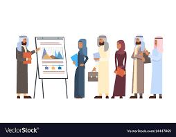 Arab Business People Group Presentation Flip Chart