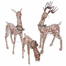 Details About Christmas Decoration Outdoor Yard Decor Lighted Pre Lit 3 Deer Xmas Sculpture