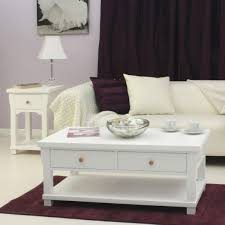 White Living Room Furniture Mesmerizing White Wooden Coffee Table At Stunning Dark Purple Rug
