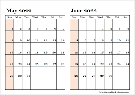 calendar for the month of may two month may june 2022 calendar print blank calendar template