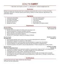 security guard resume sle