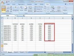 How To Use Excel For A Budget How To Budget College Tuition And Loans Using Excel 10 Steps