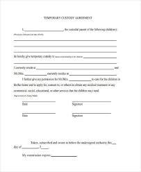 Custody Agreement Template Temporary Guardianship Agreement Form Custody Agreement