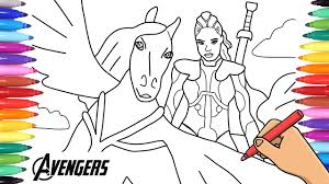 Discover these incredible hulk coloring pages. Marvel Avengers Endgame Valkyrie And Her Horse Coloring Page Superheroe Avenger Youtube