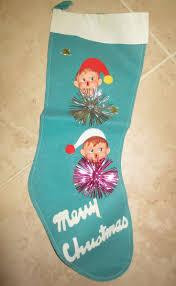 Adorable vintage felt christmas elf boy stocking