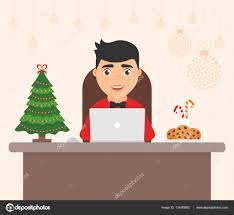 Decorated Workplace Office Merry Christmas And Happy New Year Cute
