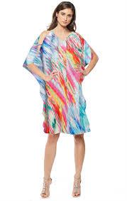 All Dresses Longoria Reversible Cold Shoulder Knee Length Kaftan