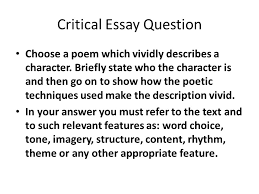 pcqe an introduction the building block approach literature  critical essay question choose a poem which vividly describes a character