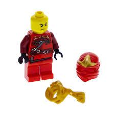 1 x Lego System Figur Mann Ninjago Kai Torso rot bedruckt mit Schulter  Rüstung Löwen Kopf gold Ninja Maske Tuch Set 9441 9449 njo032