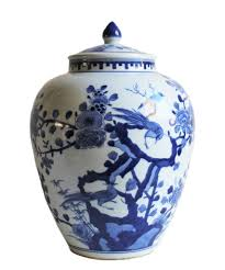 Chinoiserie Design On Pottery And Porcelain Blue White Chinoiserie Jar Hand Painted On White
