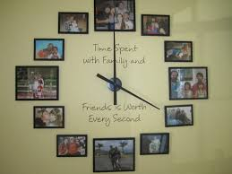 decoration family photo wall clock design with es and black wooden frame ideas 17
