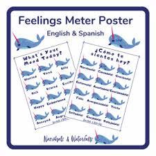 Spanish Feelings Chart Narwhal Feelings Chart English Spanish
