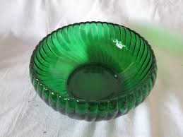 vintage forest green glass bowl planter center bowl snack dish swirl pattern glass