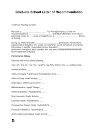 Free Graduate School Letter Of Recommendation Template With