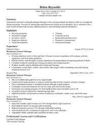 Restaurant Resume Example Jmckell Com