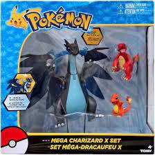 Pokemon Mega Charizard X Exclusive Figure 3-Pack Set Charmander Charmeleon  Tomy - ToyWiz