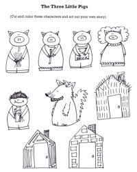 stick puppet figures the three little pigs wolf gif