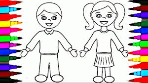 Small Picture School Girl and Boy Coloring Pages l Kids Drawing Coloring Videos