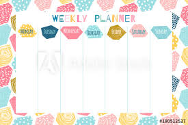 Cute And Colorful Weekly Planner Template With Geometric Abstract
