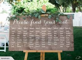 Wedding Seating Chart Print Decal Sign For Wood Board Table Plan Guest List
