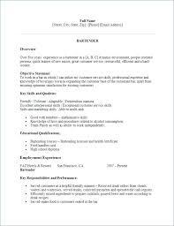 Bartender Resume Template Unique Bartending Resume Objective Letter Resume Source