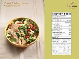 Panera Bread Nutrition Chart Panera Secret Menu Power Mediterranean Chicken Salad