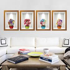 3d stere potted flowers fake frame wall