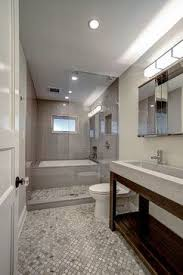 Park Slope Brownstone Ben Herzog Concrete Sink Trueform Open Shower Wet Room Mosaic Slate Tile Floor