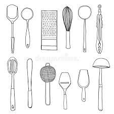 kitchen utensils art. Download Kitchen Utensils Hand Drawn Line Art Illustration Stock - Of Ladle, Long