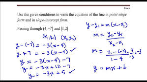 write the equation of line that p through points 4 point slope form calculator with intercepts