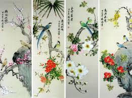 wall art painting chinese scroll artwork original bird flower painting 139 00