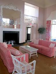 pink living room furniture. Shabby Chic Style Living Room With Large Mirror And Pink Sofas Furniture