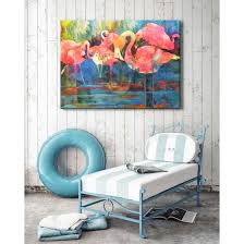 weatherproof canvas art flirty flamingos