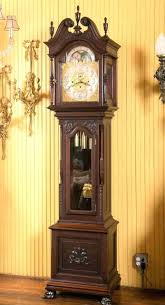 linden wall clock carved mahogany chime grandfather quartz 31 day windup