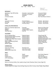 Example Of A Dance Resume