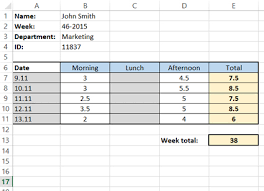 timecard hours how to create a simple excel timesheet