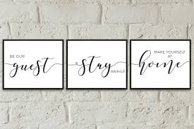 be our guest set of 3 prints wall decor