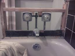 install shower in existing bathtub bathroom pipes front jpg