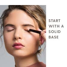 always start with a primer streicher says this is particularly important for hooded eyes because the skin on the lids touches