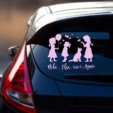 Car Tattoo 3 Girls Kids With Dog Rear Window Playing Girls With
