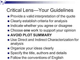 writing the critical lens essay ppt video online  3 critical