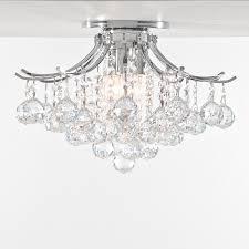 contour design gold or chrome ceiling flush mount with european or swarovski spectra crystal strands sku 10526