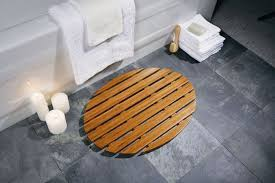 view in gallery oval bamboo bath mat