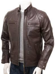 men s brown leather biker jacket sibiu front