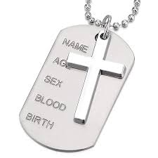 two pieces mens womens cross dog tag pendant necklace with 28 inches ball chain 73387