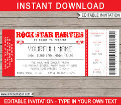 Concert Invite Template Rockstar Birthday Party Ticket Invitations Template Red