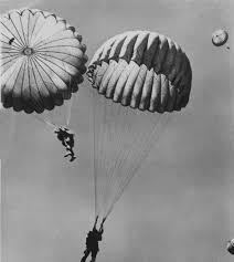「During World War II, most nylon production is diverted for military use for parachutes and parachute cord」の画像検索結果